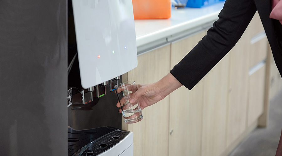 Touchless water dispenser in office kitchen